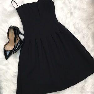 Strapless mini black dress
